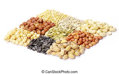 semillas, y, nueces