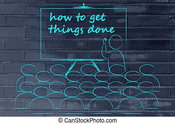 seminário, ou, classe escola, com, mentor, ensinando, como, receber, coisas, feito