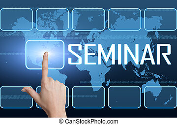 Seminar concept with interface and world map on blue background
