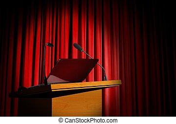 Seminar podium and red curtain