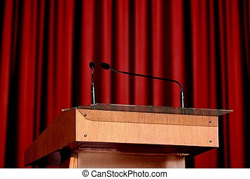 Seminar podium over white
