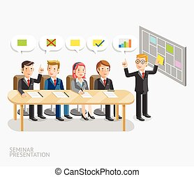 Seminar presentation conceptual. Business meeting with speech bubble template.