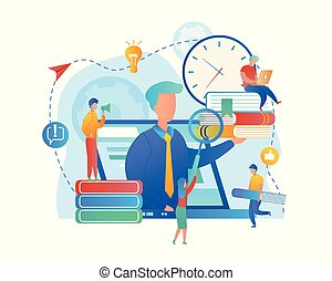 Group of Students Sitting Round of Immense Laptop Screen and Observe Webinar. Online Teaching, Instructor Verbalising at Pc Screen Online. Seminar Representing Teacher. Flat Vector Illustration