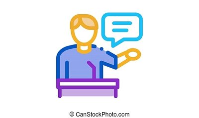 seminar speaker Icon Animation. color seminar speaker animated icon on white background