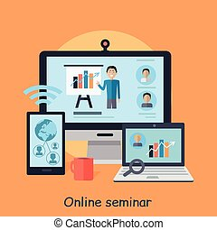 seminar., work., vektor, online, entfernung, webinar.
