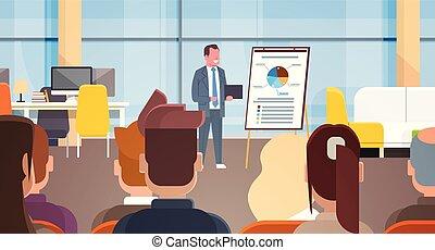 seminario affari, uomo affari, condurre, presentazione, o,...