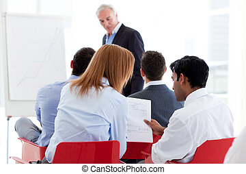 seminario, colleghi, due, discutere, insieme
