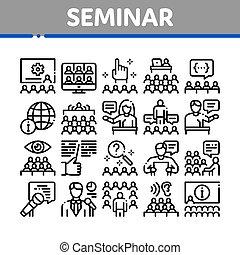 seminario, vector, colección, conjunto, conferencia, iconos