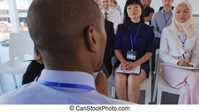 seminarium, handlowy, samiec, mówiący, audiencja, adresując