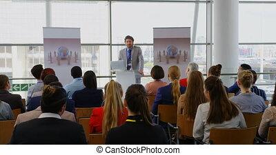 seminarium, handlowy, samiec, mówiący, kaukaski, 4k, ...
