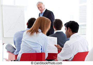 seminarium, koledzy, dwa, dyskutując, razem