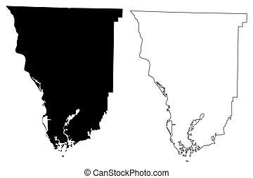 Seminole County, Georgia (U.S. county, United States of America, USA, U.S., US) map vector illustration, scribble sketch Seminole map