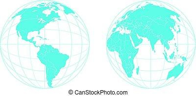 semisphere, isolé, vecteur, gabarit, la terre, blanc