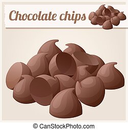 Semisweet chocolate chips. Detailed Vector Icon