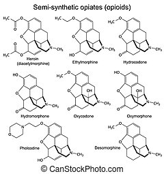 Chemical formulas of main semisynthetic opiates, 2d illustration, isolated, vector, eps 8