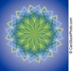 Semitransparent blue and green mandala on deep blue gradient background, soothing colors of nature in geometric isolated star shape