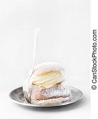 Semla, traditional Scandinavian cream bun