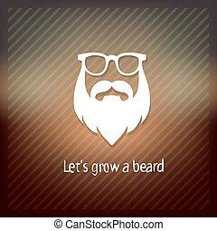 semmis ütés s, nő, egy, beard., bajszok