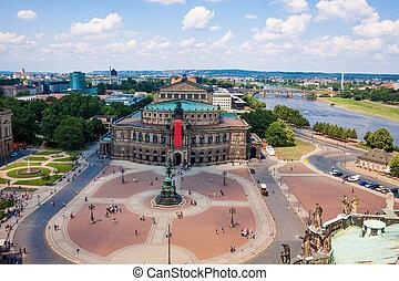 Semper Opera House, Dresden, Germany. Cityscape. Skyline