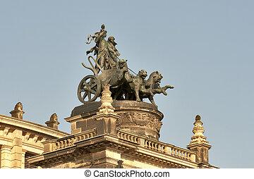 Semper Opera House in Dresden, Germany - Statue quadriga on...