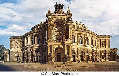 famous Semperoper Opera Building in Dresden, Germany