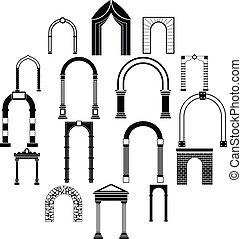 semplice, arco, stile, set, icone