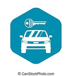 semplice, automobile, stile, icona chiave