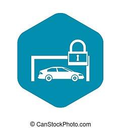 semplice, automobile, stile, icona, lucchetto