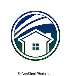semplice, blu, cerchio, casa, swoosh
