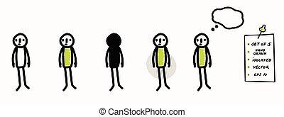 semplice, bubble., 5, simbolo, mano, bastone, set, decisione, scarabocchiare, arte, concetto, idea, pensiero, disegnato, ponderazione, isolato, stickman, pensare, segno, pose., linea, standing., figura, icon., pastello, color., vettore