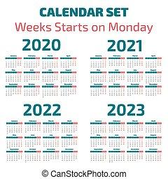 semplice, calendario, 2020-2023, anni