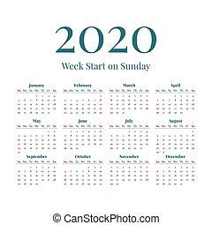semplice, calendario, 2020, anno