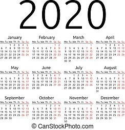 semplice, calendario, vettore, 2020