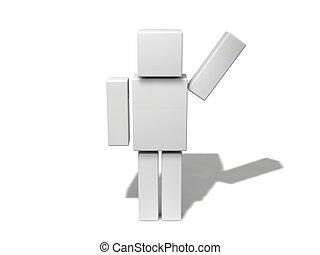 semplice, character., 3d, cubico