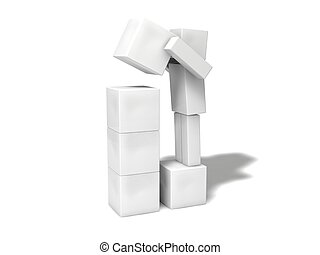 semplice, character.stacking, blocks., 3d, cubico