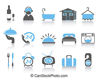 semplice, colorare, albergo, icone