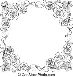 semplice, cornice, isolato, fondo., nero, floreale, bianco