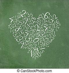 semplice, cuore, numeri, modellato