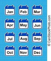 semplice, design., icone, calendario, names., mese, set