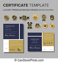semplice, disegno, vettore, distintivo, certificato
