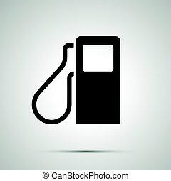 semplice, distributore di benzina, nero, icona