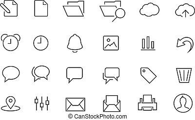 semplice, documento, set, accarezzato, icona