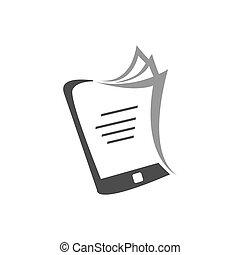 semplice, ebook, vettore, icona, biblioteca, elettronico, logotipo