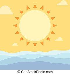 semplice, estate, sole, e, onde oceano
