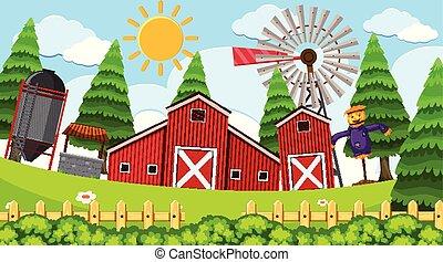 semplice, fattoria, scena, rurale