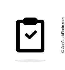 semplice, fondo., appunti, bianco, assegno, icona