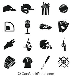 semplice, football americano, nero, icone