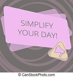 semplice, foto, ridurre, segno, vuoto, tuo, essentials, cose, fare, day., colorare, testo, concettuale, megafono, rettangolo, triangolo, esposizione, fondamentale, semplificare, announcement., dentro, o