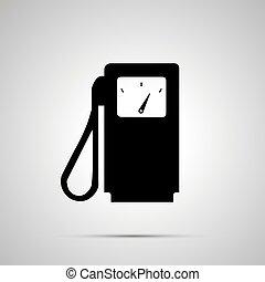 semplice, gas, silhouette, stazione, nero, icona