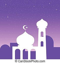 semplice, grafico, moschea